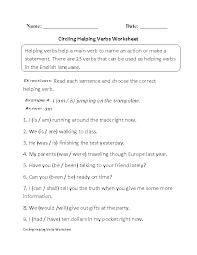 verbs worksheets helping verbs worksheets