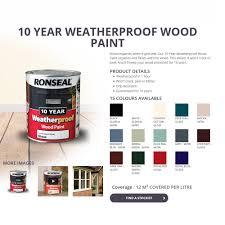 ronseal 10 year weatherproof wood paint 750ml satin gloss all