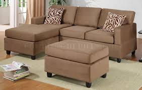 f7662 poundex saddle microfiber small sectional sofa w ottoman
