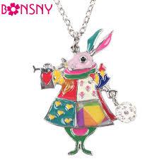 long drop pendant necklace images Bonsny wonderland woodland rabbit long drop statement pendant necklace jpg