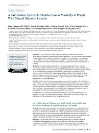 bureau d assurance du canada a surveillance system to monitor excess mortality of with