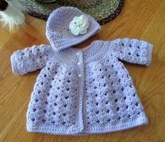 newborn baby sweater cardigan and hat set knitted matinee