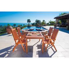 Turquoise Patio Chairs Vifah Balthazar Eucalyptus 5 Piece Patio Dining Set With Folding