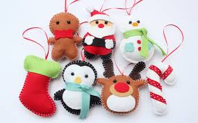 set felt plush ornaments santa claus snowman