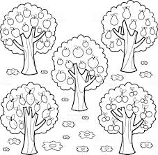 fruit trees black and white coloring book page stock vector art