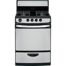 Clean Stainless Steel Cooktop Ge 24 In 3 0 Cu Ft Gas Range In Stainless Steel Jgas02senss