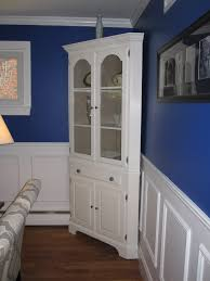White Corner Cabinet With Doors Favored White Refinished Corner Cabinet For Crafts Display