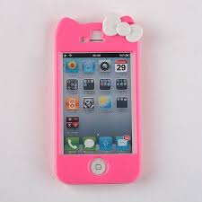 Glossy Rose Pink Kitty Bow Hard Case Cover Apple Iphone