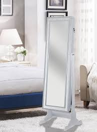 Jewelry Mirror Armoire Amazon Com Iconic Home Glitzy Contemporary Pristine White Crystal