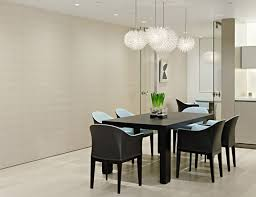 modern dining room black and white rectangular brown polished