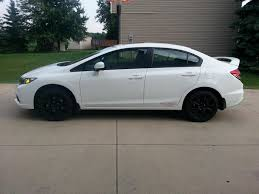 2011 honda civic coupe white black rims with chrome lips