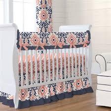 navy and coral ikat crib skirt gathered carousel designs