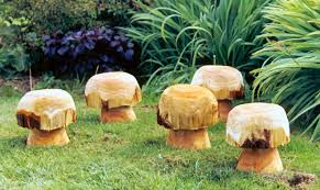 wooden mushrooms and toadstools sculptural garden sculpture