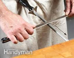 how to sharpen serrated kitchen knives learn how to sharpen a knife the family handyman