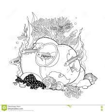 graphic aquarium fish with broken jar stock vector image 78614879