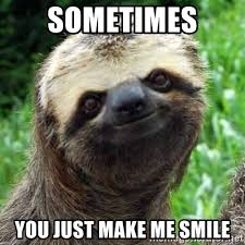 You Make Me Smile Meme - sometimes you just make me smile sarcastic sloth meme generator