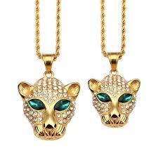 aliexpress buy nyuk gold rings bling gem nyuk animal leopard green pendant necklace gold titanium