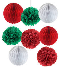 White Christmas Paper Ornaments by Pack Of 8 Christmas Decorations Red Green White Tissue Paper