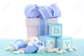 baby shower its a boy blue gift with gift box baby booties