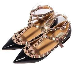 Comfortable Dress Shoes Womens Amazon Com Camssoo Women U0027s Metal Studs Strappy Buckle Pointy Toe