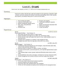 server resume template quick resume template unforgettable fast food server resume