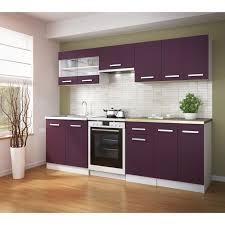 meuble cuisine violet ultra cuisine complète 240 cm couleur aubergine achat vente