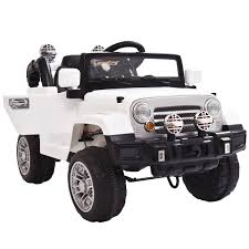 jeep cars white 12v mp3 rc battery power wheels jeep car truck kids ride on w led