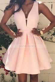 pink dress v neck satin pink a line homecoming dress os0697