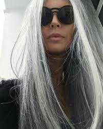 long silver braid white hair gray hair granny hair going gray