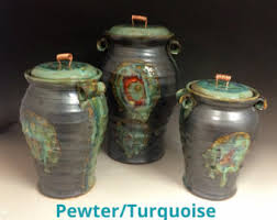 pottery kitchen canisters handmade 3 ceramic kitchen canister set m l xl size