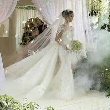 Wedding Dress With Train Aliexpress Com Buy Designer High Collar Appliqued Lace Long