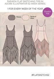 week 6 free fashion flat sketch fringe edge dress angled hemline
