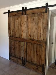 Furniture Lovely Dark Brown Wooden Sliding Barn Door For Your