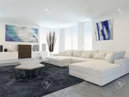 Modern Livingroom Furniture Interior Of Modern Living Room With White Furniture Stock Photo