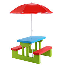 Patio Furniture Set With Umbrella by Kids Picnic Folding Table And Bench With Umbrella Outdoor