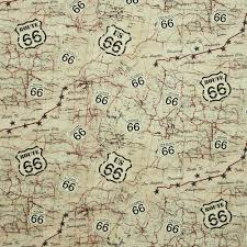 Map Route 66 by Timeless Treasures Route 66 Map Beige Fabric Emerald City Fabrics