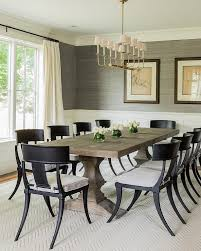 Transitional Dining Room Transitional Dining Room Features Walls Clad In Gray