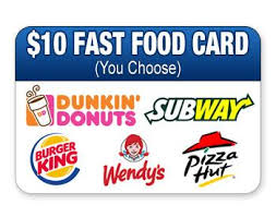 fast food gift cards 10 fast food card you choose auctions happybidday
