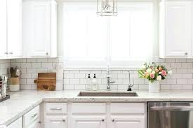 Backsplash Subway Tiles For Kitchen Subway Tile Backsplash White Granite Kitchen With White Subway