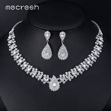 silver pink necklace images Mecresh crystal african wedding jewelry sets pink silver color jpg