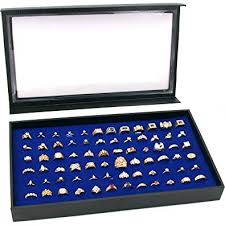 jewelry rings box images 72 ring blue jewelry box display case magnetic lid new jpg