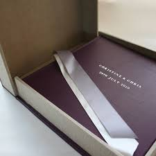 Leather Wedding Albums Damson Leather Wedding Album With Matching Clamshell Box