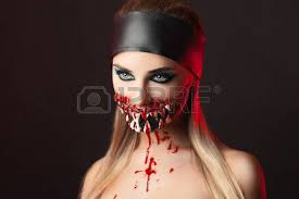 professional make up character with big teeth and black professional make up