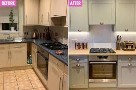 kitchen cabinet lighting argos gives boring kitchen a chic update using wood from