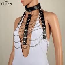 wear collar necklace images Chran leather harness bondage beach chain collar goth choker jpg