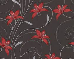 grey wallpaper with red flowers grey black red lilly trail floral flower feature wallpaper a s