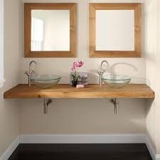 Small Wall Mounted Sinks For Bathrooms Natural Edge Teak Wall Mount Vanity Top For Vessel Sinks Bathroom