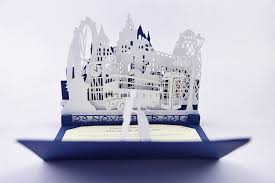 3d wedding invitations custom blue and white london wedding invitation pop up