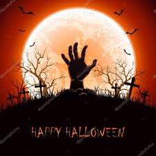 halloween background with hand on cemetery u2014 stock vector losw