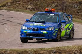 subaru sti rally car moscow russia apr 18 2015 safety car subaru impreza wrx